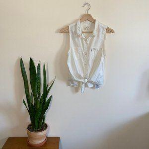 Levi's Sleeveless Button Up White Tie Waist Top